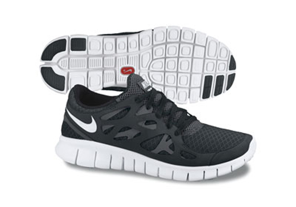 nike free run 2 white and black