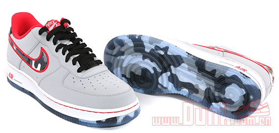 Nike Air Force 1 Low; Coloris: Wolf Grey/Hyper Red; Style: 488298-022