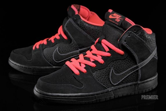 ... nike sb dunk high coloris black black atomic red white style . ...