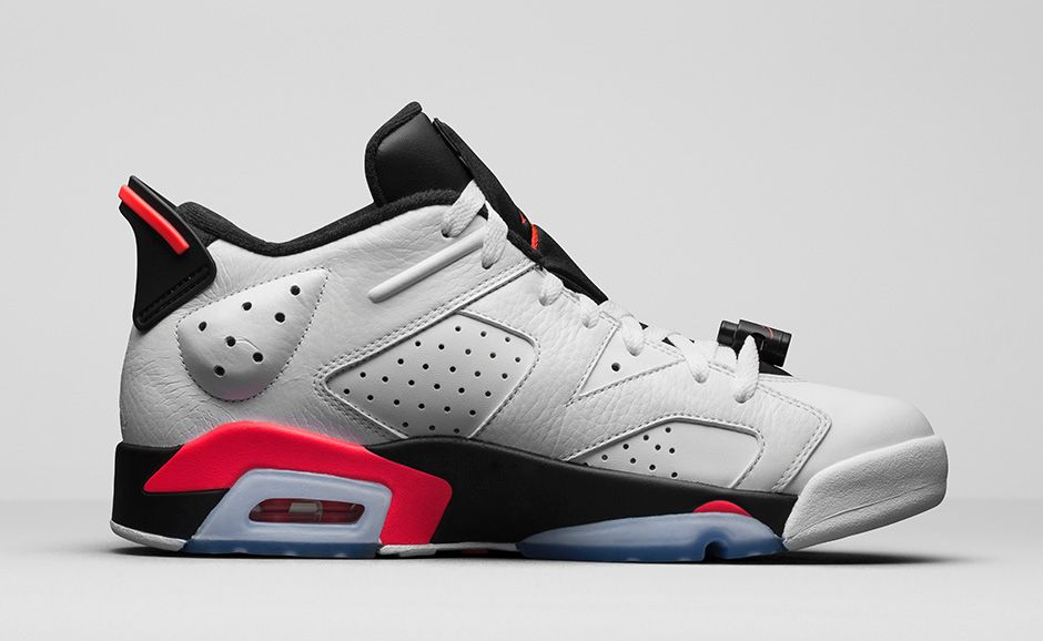 nike air jordan 6 retro low white/infrared 23-black
