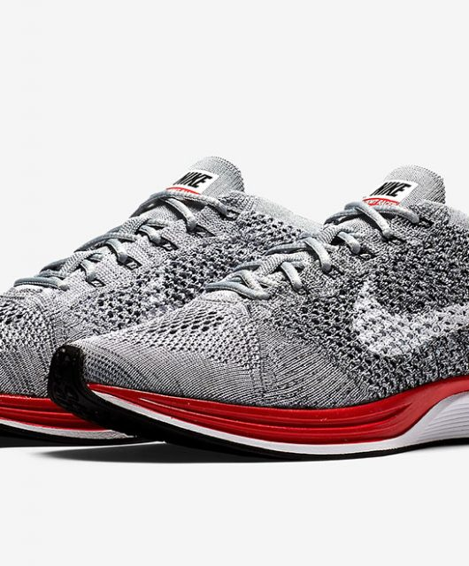 the latest 6f7a3 0d327 ... grise nike flyknit racer red black .