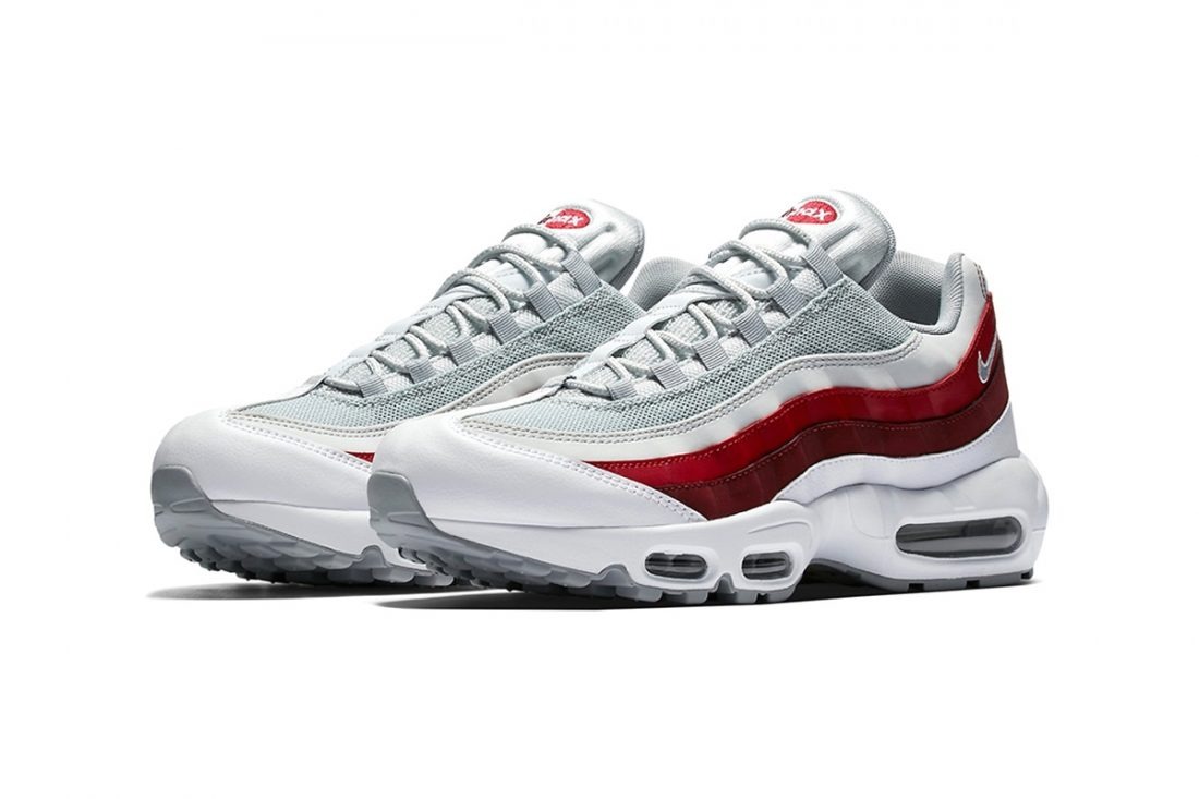 preview nike air max 95 wolf grey team red le site de la sneaker. Black Bedroom Furniture Sets. Home Design Ideas