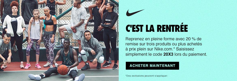 La promo Nike de la rentrée: 20% sur 3 produits ou plus