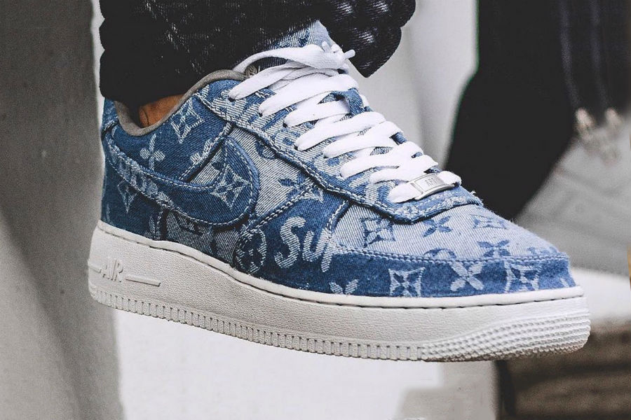 sneaker custom supreme x louis vuitton x nike air force 1 denim le site de la sneaker. Black Bedroom Furniture Sets. Home Design Ideas