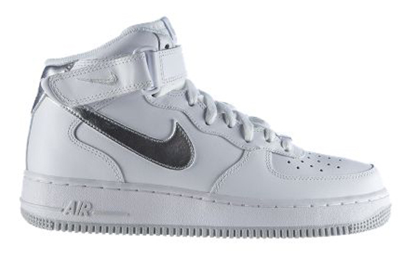 Nike Air Force 1 Mid White Metallic Silver Le Site De La