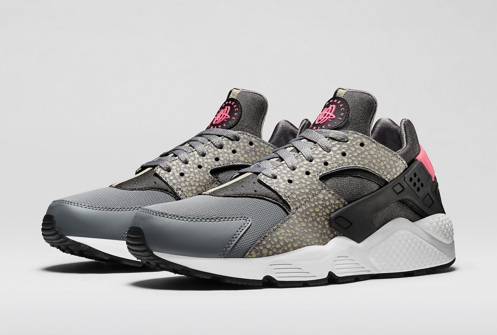 Nike Air Huarache Safari Grey Black Hyper Punch