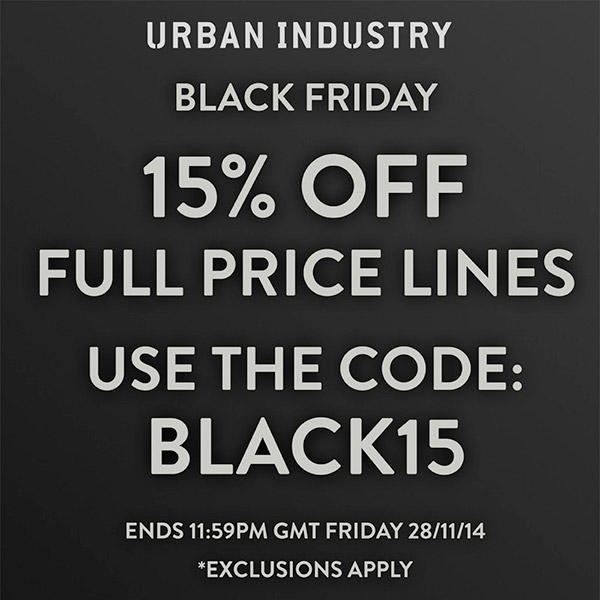 code promo black friday 15 sur urban industry le site de la sneaker. Black Bedroom Furniture Sets. Home Design Ideas