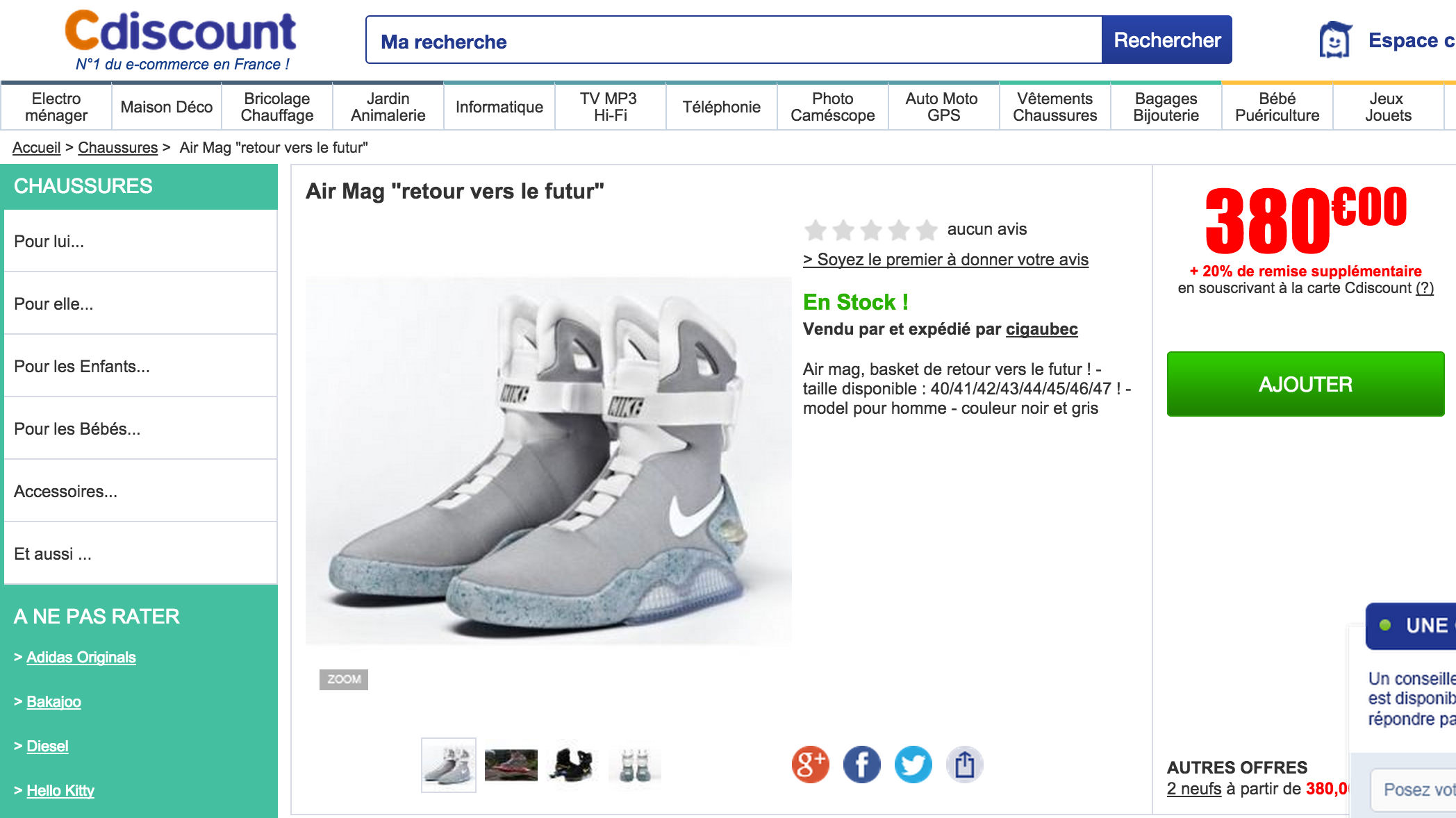 detailed look 517d0 39b08 CDiscount met en avant de fausses Nike Mag sur facebook