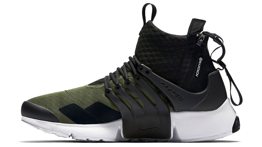 acronym x nikelab air presto mid olive le site de la sneaker. Black Bedroom Furniture Sets. Home Design Ideas