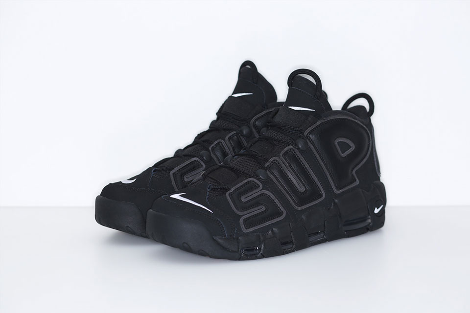 pas mal a3660 ff724 Supreme x Nike Air More Uptempo Black