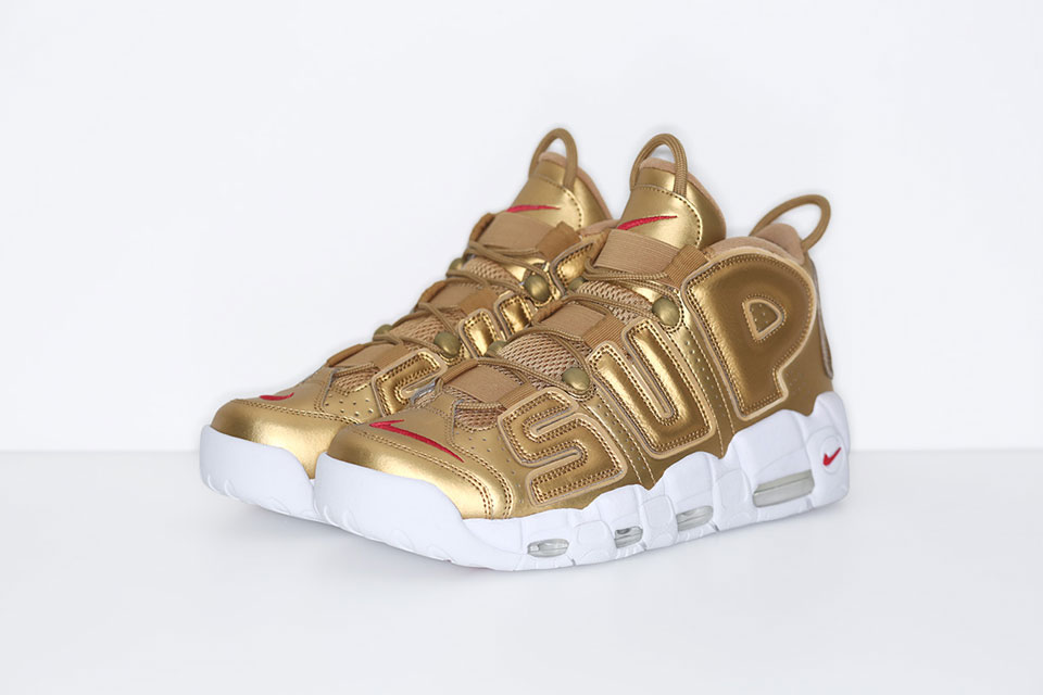 Supreme X Nike Air More Uptempo blanc Noir rouge Gold