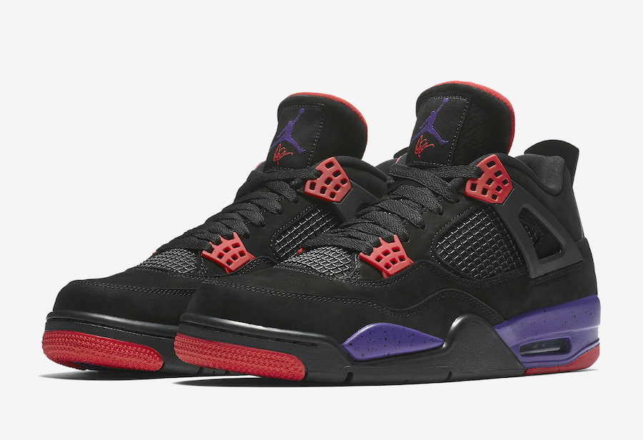 Air Jordan 4 NRG Black Red Purple 'Raptors'