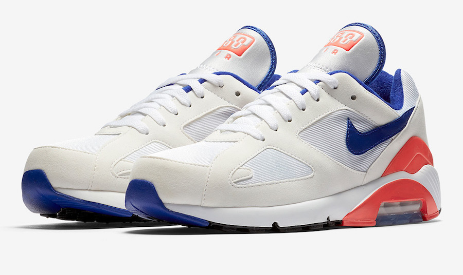 2018 Nike Air Max 180 OG Sz 12 White Ultramarine Solar Red Blue 615287 100