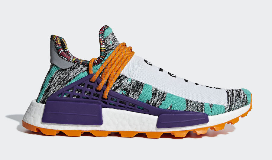 detailed look 6a074 62191 Pharrell x adidas NMD HU Hi-Res Aqua 'Solar' Pack