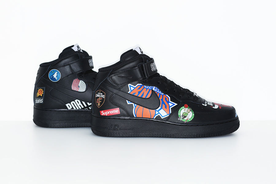 hot sale online 4a8b2 798dc Supreme x Nike Air Force 1 Mid Logos Black