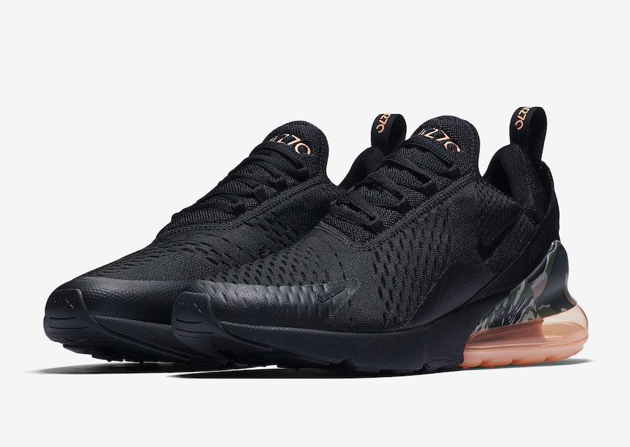 timeless design 3c2bf dc8e1 Nike Air Max 270 Black Camo Sunset