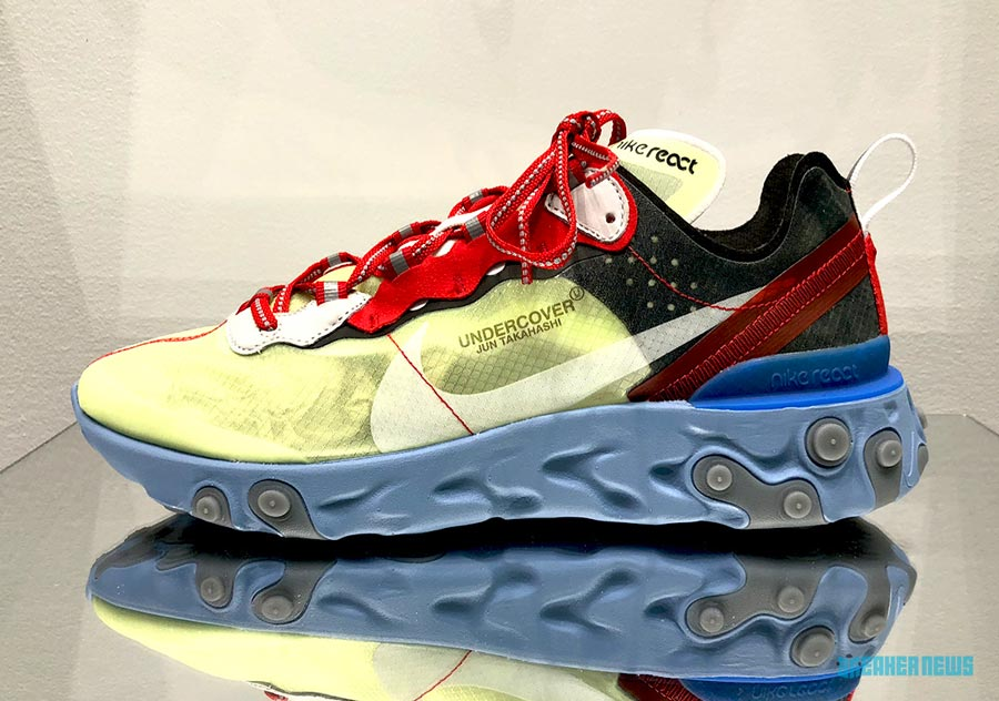 premium selection 754db 62005 undercover-nike-react-element-87-blue-green-red-