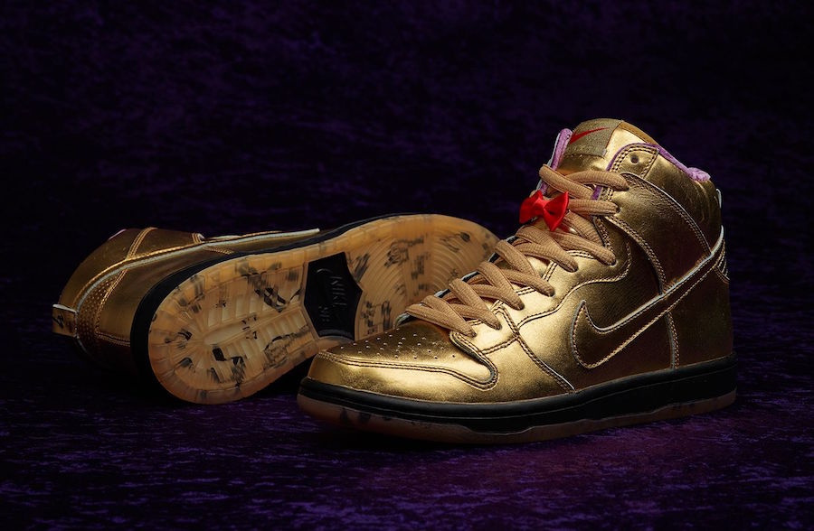 nike sb dunk high gold