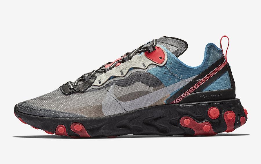 Nike React Element 87 Blue Chill Solar Red - Le Site de la Sneaker