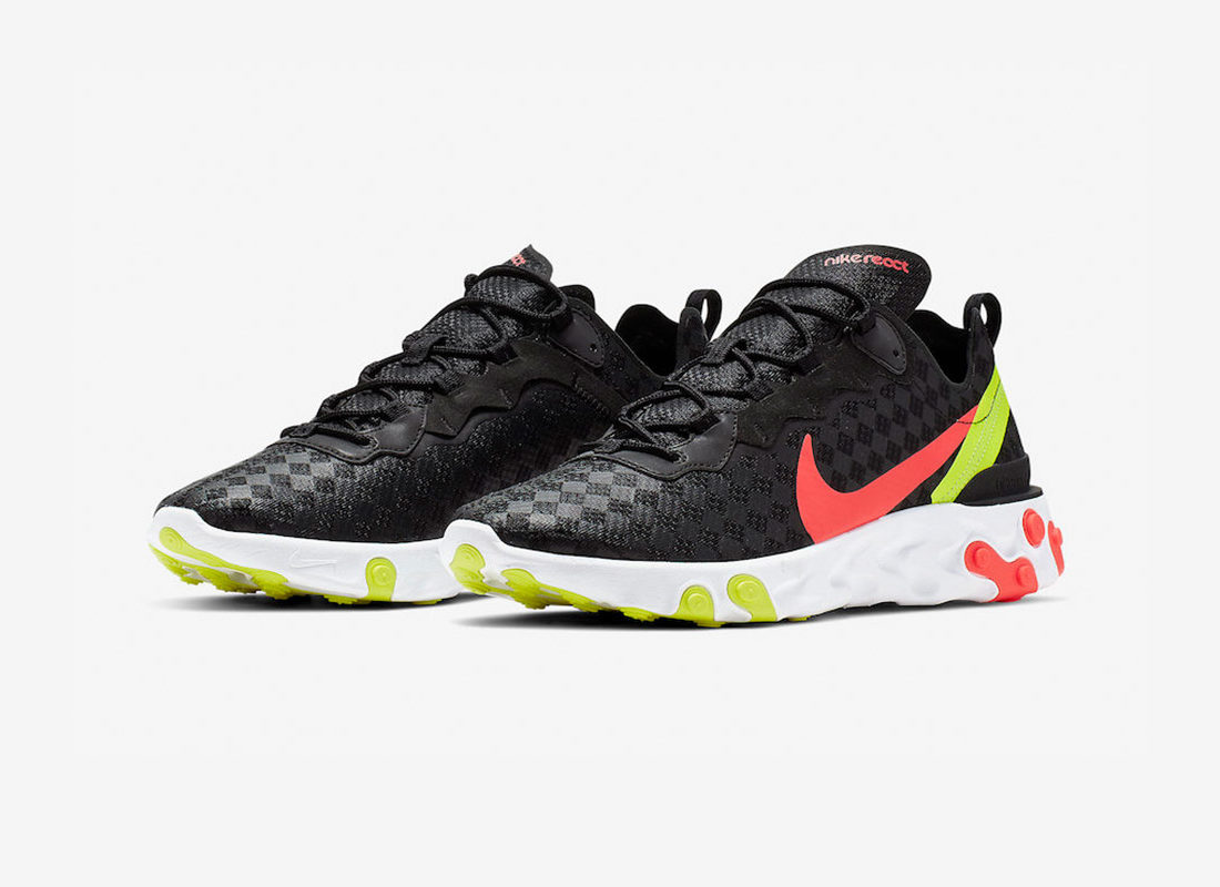 sale uk latest factory price Preview: Nike React Element 55 Black Crimson Volt - Le Site ...