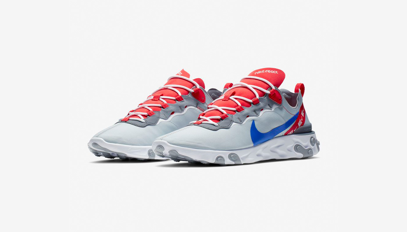 Nike React Element 55 Grey Royal Red - Le Site de la Sneaker