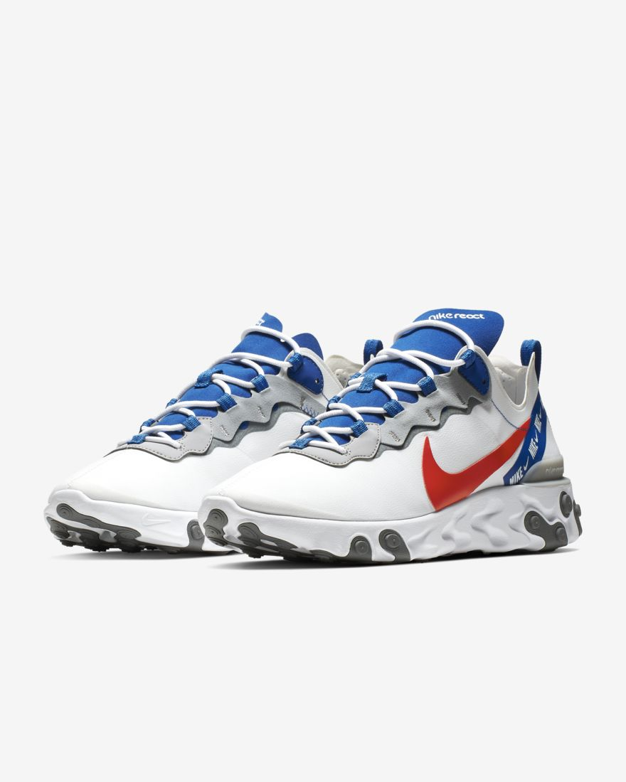 Nike React Element 55 White Royal Red