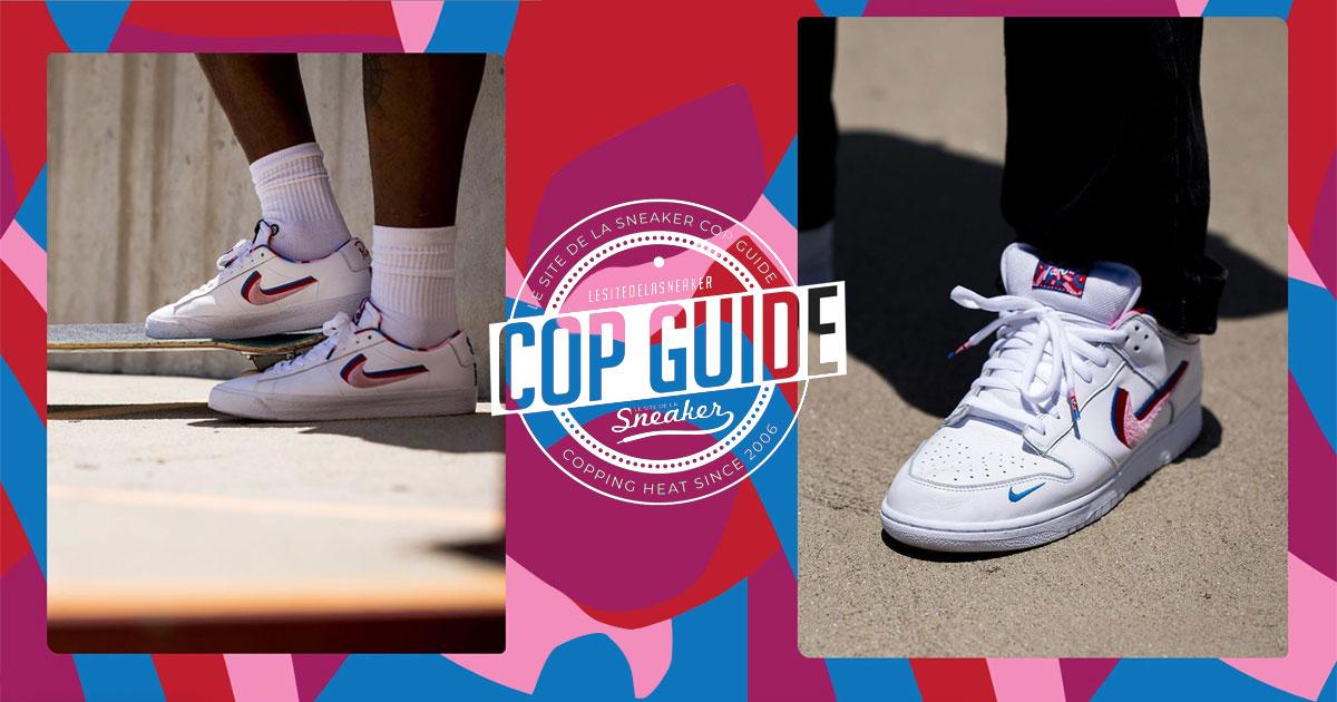 Les sneakers blanches bleues et rouges Nike x Parra de