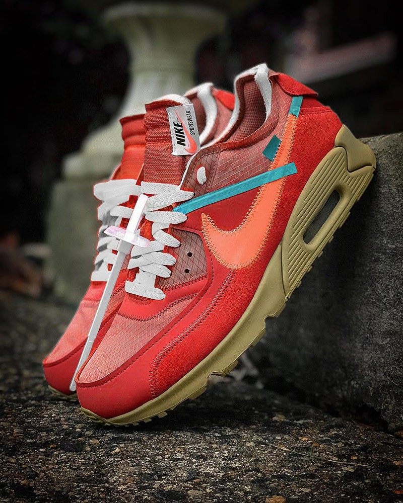 off-white x nike air max 90 university red