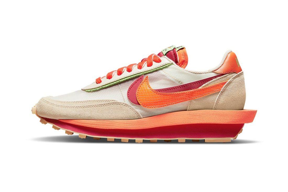 CLOT x sacai x Nike LDWaffle Orange